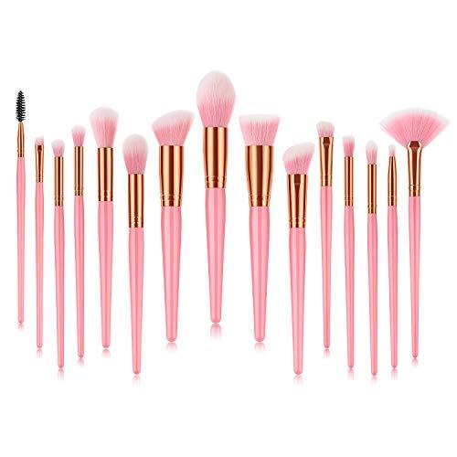 Juego de 15 brochas de maquillaje Fashion Base®, suaves y sin crueldad, sintéticas, de alta calidad, para base de maquillaje, correctores de base, polvos, colorete, difuminado, sombra de ojos