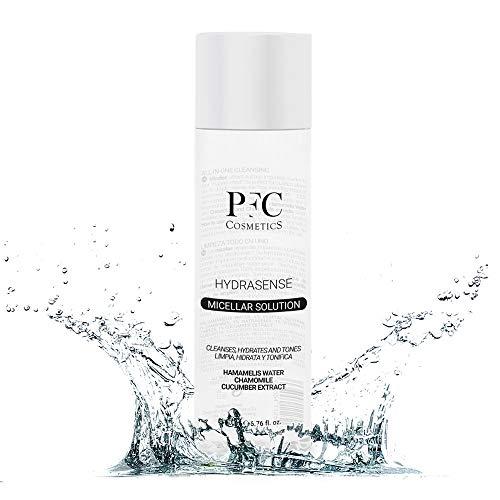 PFC Cosmetic Agua Micelar Limpiadora Facial Desmaquillante Puro y Natural Hydrasense Micelar Solution 200ml Concentrado de Hamamelis Water Camomila Extracto de Pepino para Higiene y Cuidado Personal.