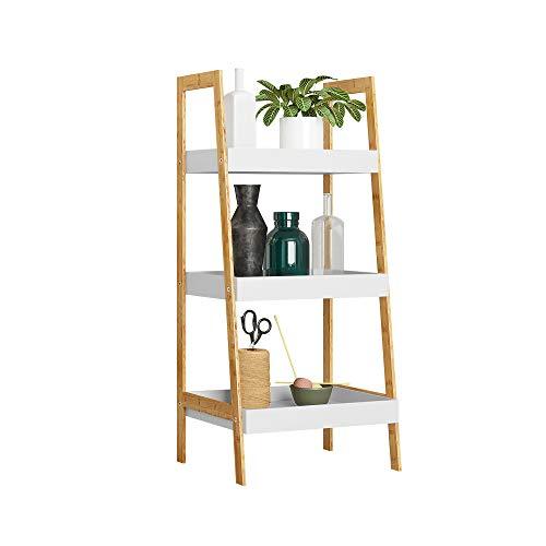 HOMEFORT 3-Tier Ladder Shelf Bamboo Storage Rack Freestanding Bookshelf with MDF Shelving Flower Shelf Plant Display Rack for Kitchen Living Room Home Office