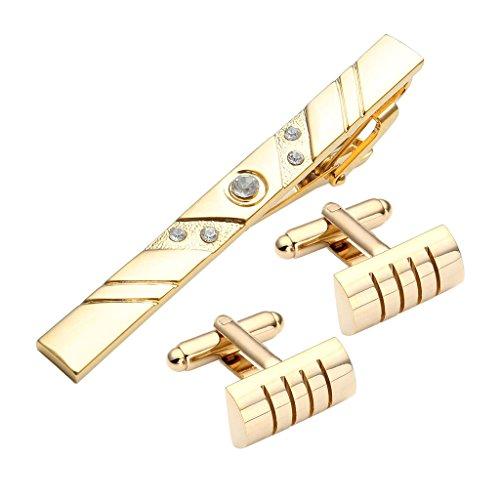 Jovivi 3PC Set in Acciaio Inox Exquise da Uomo Gemelli e fermacravatta Set, Color Oro semicerchio Design W/Box