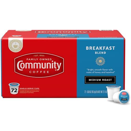 Community Coffee Breakfast Blend Medium Roast Single Serve K-Cup Compatible Coffee Pods, Box of 72 Pods