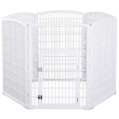 Pawhut Luxe Parc enclos modulable pour Chien 6 Panneaux + 1 Porte verrouillable Plastique PP Blanc