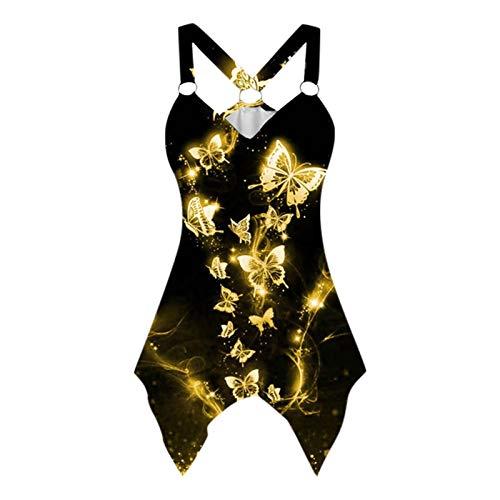 Dicomi Sommer Damen Tank Top Elegant Shirt Oberteile Mode Butterfly Print Weste Ärmellose Lacetank Tops Casual Blouse Tops