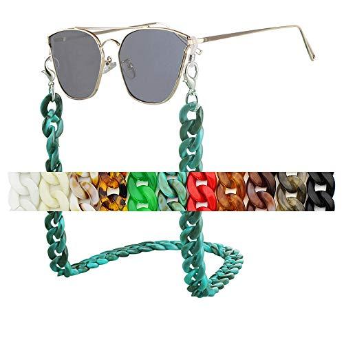 LUNALUCE Female Sunglasses Acrylic Marvel Chain - Eyewear Retainer - Glasses Strap Holder Strap (3 Turquoise), Medium