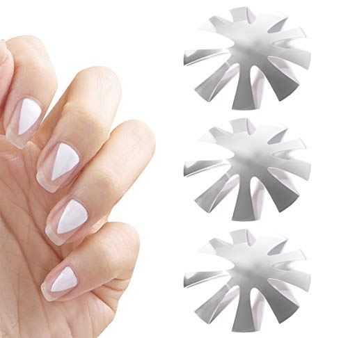 1/3pcs Nail Cutter Template Plate, V Cut Smile Line Cutter voor acrylnagels, French Manicure-stempelplaat, roestvrijstalen nagelkunstplaten (3)
