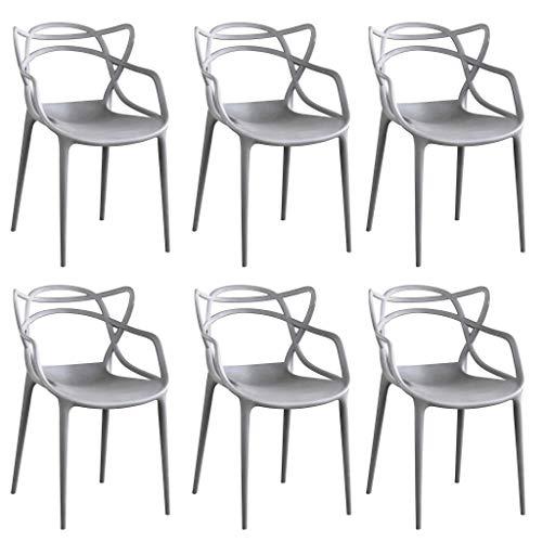 Milani Home s.r.l.s. Set di 6 Sedia in Polipropilene plastica Grigia di Alta qualità di Design per Interno e Giardino Stile Moderno per Sala da Pranzo, Cucina
