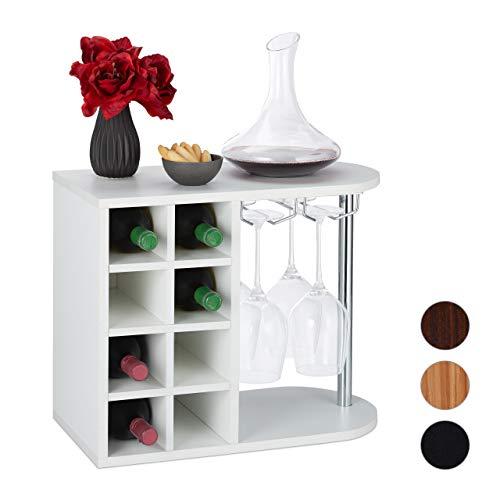 Relaxdays Weinflaschenhalter, groß, mit Glashalterung, Weinständer für 8 Flaschen, HxBxT: 42 x 52 x 28 cm, weiß