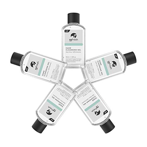 Gel hidroalcohólico para manos Trtl Refresh: 5 botellas de 50 ml de gel antibacteriano para manos con 60% de alcohol. Gel desinfectante para manos que elimina gérmenes rápidamente (Paquete)