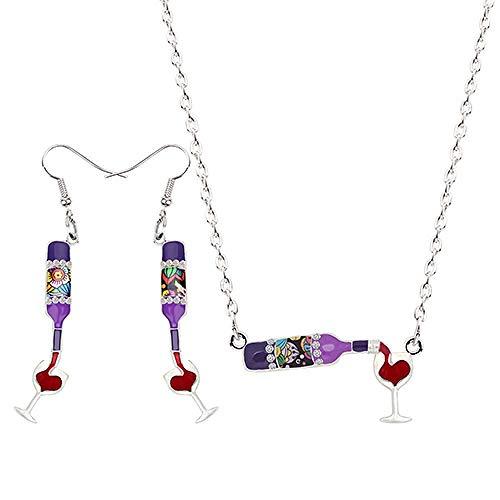 Xx101 Botella de la aleación del Esmalte del Vino Rojo Copa cuelgan los Pendientes de Gota Colgante del Collar La joyería de la Vendimia Mujeres Accesorios Bijoux Chica Nixx0 (Color : F)