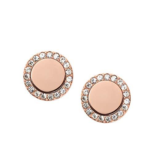 "Fossil""Heritage Links"" Rose Gold Glitz Metal Stud Earrings"