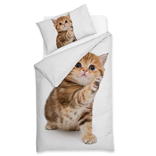 Sognamo Cats Katzen Bettwäsche I reine Baumwolle I 135x200cm  80x80 Farbe Weiss I Bio I Fair Trade