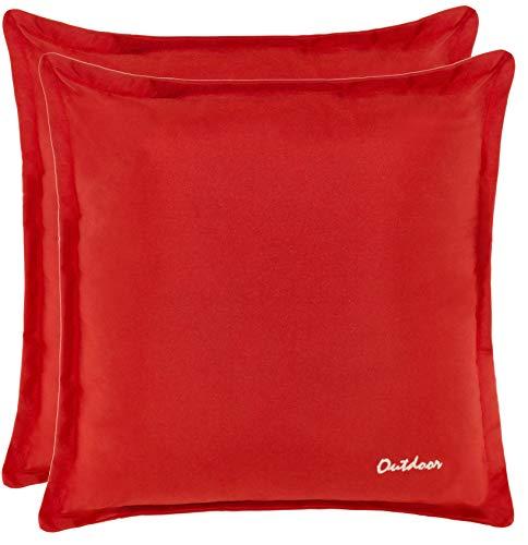 Brandsseller Outdoor Kissen Dekokissen - Schmutz- und Wasserabweisend mit Reißverschluss 2 cm Steg - 350 gr. Füllung - Größe: 48 x 48 cm (2er-Vorteilspack, Rot)