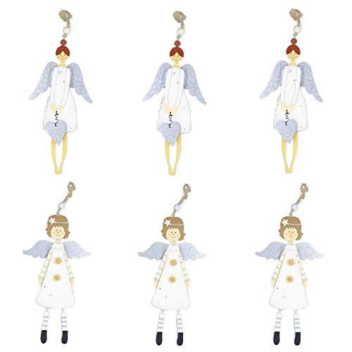6 Pcs Christmas Decoration Angel Doll Pendant Tree Hanging Ornaments Christmas Crafts Elves Decorations
