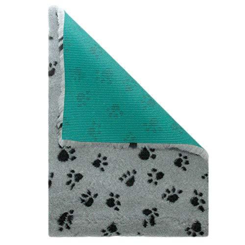 Medbed Premium - Die medizinische Hundedecke | VetBed | Waschbar | Feuchtigkeitsabsorbierend | Isolierend | Antiallergen | Atmungsaktiv | Extrem robust (50x70 cm, Pfötchen-Grau)