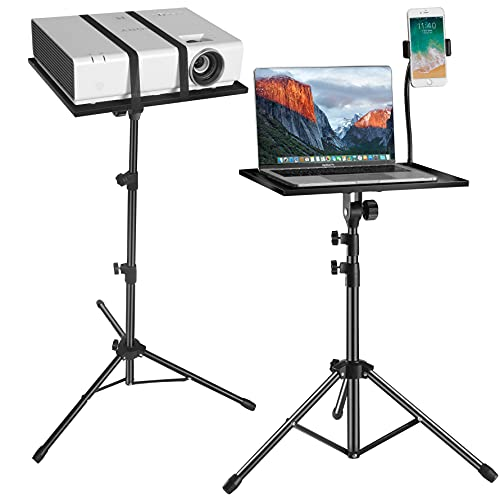 Laptop Tripod Stand - Laptop Floor Stand Adjustable Height 17.5 to 48 Inch with Gooseneck Phone Holder - Portable Projector Stand Tripod for Stage or Studio Use and Outdoor Movies