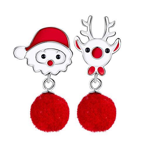 Weihnachten Ohrringe Damen 925 Sterling Silber Weihnachtsmann & Rentier Ohrringe Mode Emaille Schmuck Geschenk für Damen Mädchen