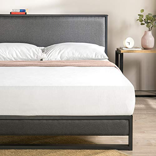 ZINUS Christina Upholstered Platform Bed Frame with Black Headboard Shelf / No Box Spring Needed / Wood Slat Support / Easy Assembly, Queen