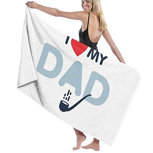 Toalla de baño I Love Daddy This Much de secado rápido, suave, toalla de ducha de playa, 130 x 80 cm