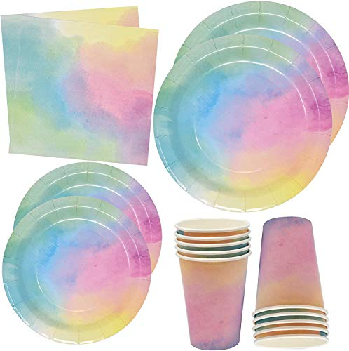Rainbow Pastel Water Color Party Supplies Tableware Set 24 9' Plates 24 7' Plate 24 9 Oz. Cups 50 Lunch Napkins for Colorful Ombre Birthday Parties Baby Shower Wedding Disposable Paper Goods Decor
