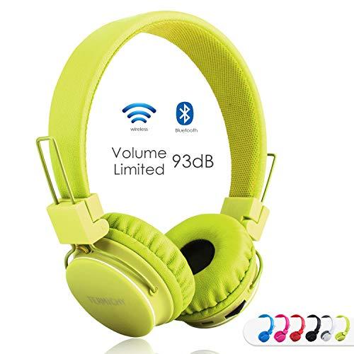Termichy Bluetooth Kopfhörer Kinder mit 93 dB Lautstärkebegrenzung, Leicht kopfhoerer Kabellos mit On-Ear Drahtloser Kopfhörer Musik Shareport, Eingebautem Mikrofon (Green)