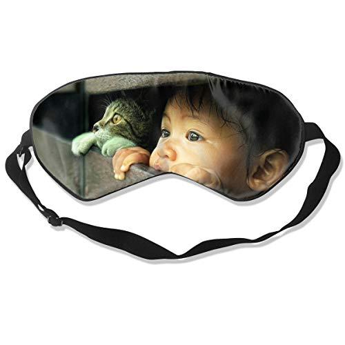 Schlafmaske, Augenbinde, super glatte Augenmaske Katzen Gesicht Blick Zaun Kinder Tiere