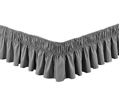 Wrap-around bed, Einfach fit elastische staub rüsche rock Falten und lichtbeständige volltonfarbe hotel qualität stoff 15 zoll Fallen Queen-king Vollständige Stifte Twin-Grau 150x200cm(59x79inch)