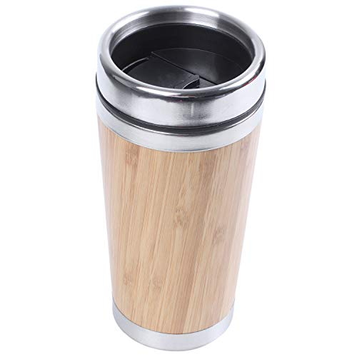 NEYOANN Taza de café de bambú de acero taza de viaje con cubierta a prueba de fugas aislada café acompañante taza reutilizable
