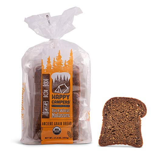 Happy Campers Buckwheat Molasses Gluten Free Bread, Whole Grain, Non-GMO, Vegan, Organic, 17.4 oz Loaf (Pack of 4)