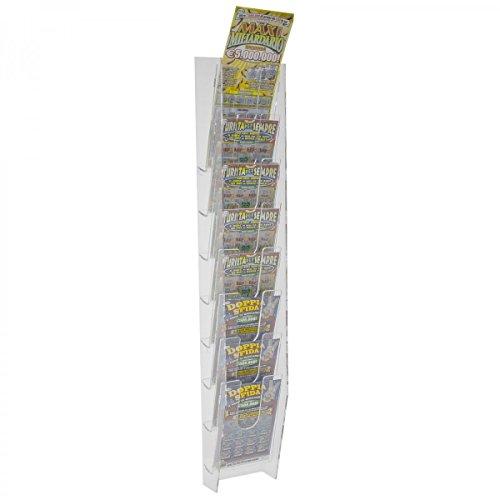 Avà srl Espositore Porta schedine e gratta e Vinci da Parete in plexiglass Trasparente a 8 Tasche - Misure: 11 x 9 x H69 cm