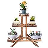 Soporte para flores de madera para maceta de madera, soporte para plantas de madera,...