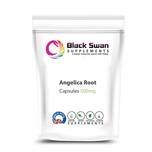 Black Swan Angelica Root 500mg Capsule - for Detox Body, Hormonal Balance, and General Wellbeing – Natural Supplement Supports Healthy Menstrual Cycle, Healthy Hair and Healthy Skin (120 caps)