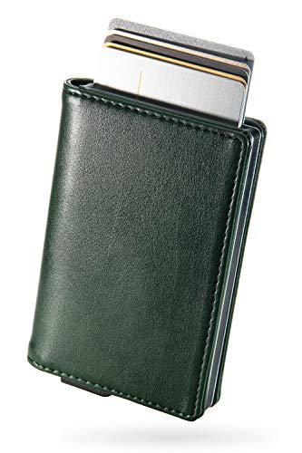 zepirion クレジットカードケース スキミング防止 磁気防止 スライド式 アルミニウム PUレザー グリーン(レザー)