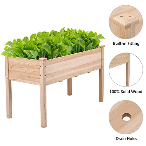 YAHEETECH Wooden Raised/Elevated Garden Bed Planter Box Kit for Vegetable/Flower/Herb Outdoor Gardening Natural Wood, 49 x 23.2 x 30.1in