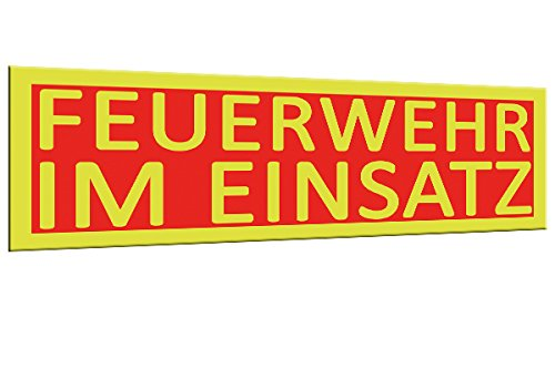 Feuerwehr im Einsatz | Magnetschild XL 30x10cm | Signalfarben | Einsatzschild | Einsatz-Magnetschild | KFZ Auto | Magnetschilder Feuerwehr-Auto | gelb rot Signalfarben| Einsatzschild |