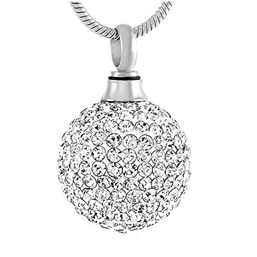 Wxcvz Ceniza Collar Colgante Collar De Cremación De Bolas De Cristal, Collar De Cenizas De Acero Inoxidable, Colgante De Urna, Collar De Recuerdo De Bola De Imitación para Mujer