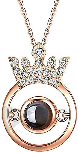 LBBYLFFF Halskette personalisierte benutzerdefinierte Foto Halskette 100 Sprachen Ich Liebe Dich Halskette Projektion Halskette Fahrrad Anhänger Anhänger Mädchen Junge Halsketten
