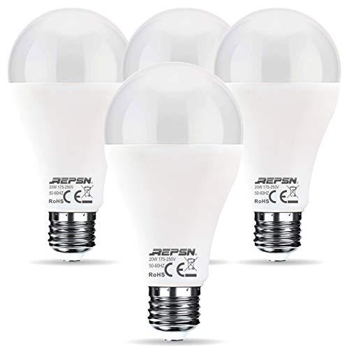 REPSN® Bombilla LED E27, 20 W, A67, luz blanca fría, 6000 K, rosca LED, bombilla de bajo consumo, equivalente a bombillas incandescentes de 150 W, 2000 lúmenes, CRI85, ángulo de haz de 240 °