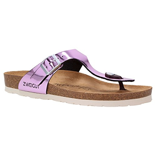 Zweigut® -Hamburg- luftig #555 Damen Zehentrenner Sandalen Schuhe Sommer mit Soft Leder-Komfort-Fußbett, Schuhgröße:37, Farbe:violett