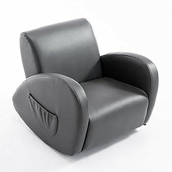 "Qaba 20"" Kids PU Leather Rocking Chair - Gray"