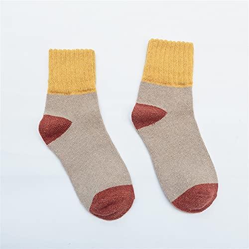5pairs Calcetines Invierno Mujeres Calcetines Cashmere sólido Grueso termos Cortos Calcetines de la UE 35-39 (Color : 5pairs Khaki EU 38-43, Size : EU35-39)