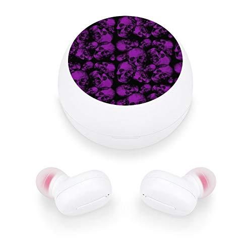Audífonos inalámbricos elegantes y hermosos auriculares Bluetooth con mini estuche de carga, regalo para mujeres y niñas para llamadas/hogar/oficina/correr/fitness (grandes calaveras moradas góticas)