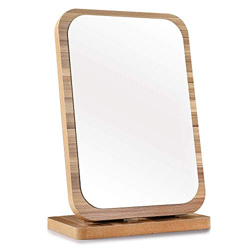 N/G Vanity Makeup Mirror with Natural Bamboo Stand,90 Degree Angle Adjustment Foldable Mirror,Portable Table Desk Countertop Mirror Bathroom Shaving Make Up Mirror