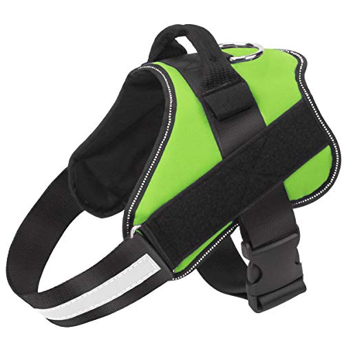 Dog Harness No Pull Reflective Adjustable Pet Vest with Handle for Outdoor Walking- No More Pulling, Tugging or Choking(Green,M)