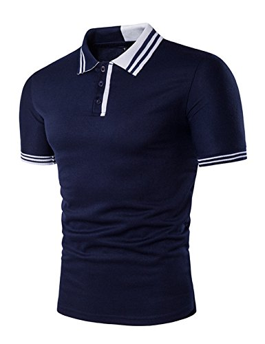 Legou Homme Polos Button-Down Polo-Shirt pour Golf Bleu Marin Medium