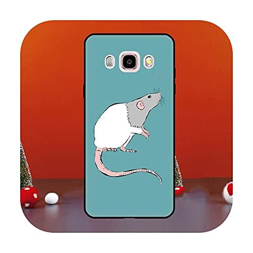 Cute Cartoon Animal Rata para Samsung Galaxy J1 J3 J5 J7 2016 A6 A8 J4 J6 Plus J8 A7 A9 2018 A3 A5 2017 Funda para teléfono K22230-J3 2016 J320 J310
