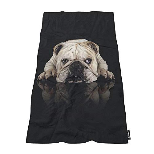 Moslion Soft Bath Towels Funny Dog Bulldog Comfy Bathing/Beach/Camping Towel for Women Men Girls Boys Large Size 64x32 Inches