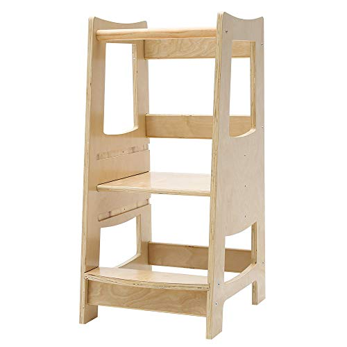 EGREE Toddler Kitchen Step Stool with Safety Rail Kids Wooden Standing Tower for Kitchen Counter and Bathroom Sink 3 Heights Adjustable Step Up Stool Mothers#039 Helper Solid Wood Construction Natural
