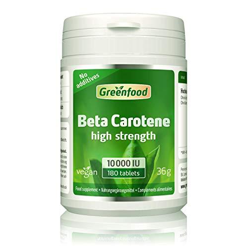 GF Beta Carotin, 10000 iE, hochdosiert, 180 Tabletten, vegan – Vorstufe von Vitamin A (gesunde Haut, gute Augen). OHNE künstliche Zusätze. Ohne Gentechnik.