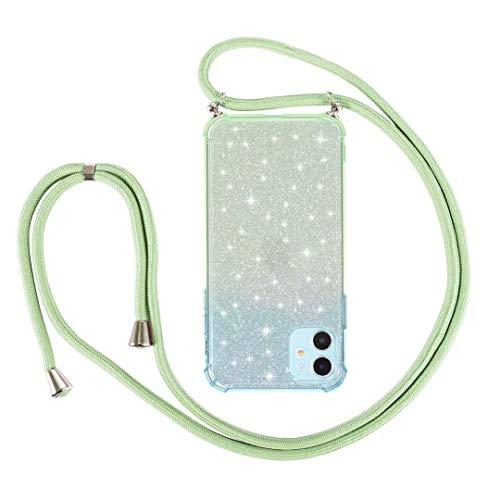 Funda con cordón para Samsung Galaxy S21/S30, a prueba de golpes, con purpurina y correa para el cuello, funda con cordón ajustable, cadena de teléfono para Samsung Galaxy S21/S30, color verde y azul