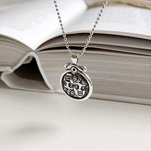 Yiffshunl Collar de Moda Plata Doble Bebé Avatar Figura Collar Plata Bebé Vintage Vintage Collar de Cadena Larga para Mujer Collar de joyería Fina